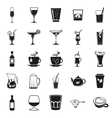 beverages simple black icons set vector image