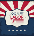 colorful poster of happy labor day with emblem vector image