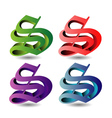 3d alphabet S in different colors vector image vector image