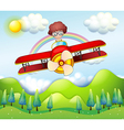 A boy riding in a red plane vector | Price: 1 Credit (USD $1)
