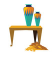 ancient egypt sacrificial vase gold coins vector image