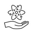 Atom in hand vector image vector image