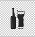 beer bottle and glass icon isolated vector image