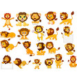 cartoon lions collection set vector image vector image