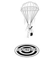 cartoon of skydiver businessman with parachute vector image
