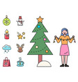 christmas holiday decorating pine tree icons vector image