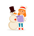 christmas kid girl character playing winter vector image