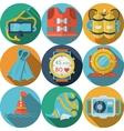Colored flat icons for diving vector image vector image