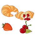 croissant on white background vector image vector image