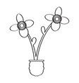drawing of a flower retro style vector image vector image