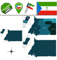 Equatorial Guinea map with named divisions vector image vector image