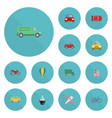 flat icons transport boat omnibus and other vector image vector image
