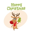 Funny reindeer in red scarf holding a Christmas vector image vector image