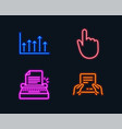 hand click growth chart and typewriter icons vector image