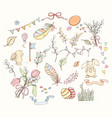 hand drawn spring elements set vector image
