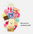 harmful of trans fat cute cartoon doodle vector image