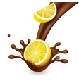 lemon in chocolate splash realistic vector image vector image