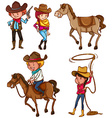 Male and female cowboys vector image vector image