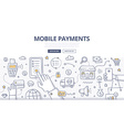 Mobile Payments Doodle Concept vector image