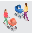 Mother pushing a baby stroller isolated against vector image