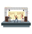 music festival concert with pop music band playing vector image vector image