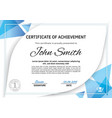official white certificate with blue triangle vector image