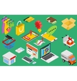 Online shopping - isometric items vector image vector image