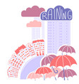 rain city background with clouds and umbrellas vector image vector image