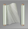 roll of wrapping stretch film opened and vector image vector image