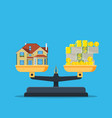scales with house and money vector image vector image