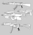 set automatic firearms pistol rifle machine vector image