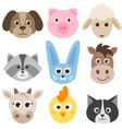set cute cartoon colorful farm animals vector image vector image