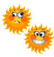 set funny laughing sun isolated on white vector image