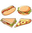 set junk food on white background vector image vector image