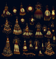 set tassels in golden color for design vector image vector image