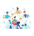teamwork online work management home office vector image vector image