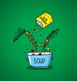 big pot of soup with spices and vegetables vector image
