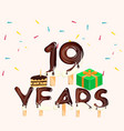 19th years anniversary card happy birthday vector image vector image