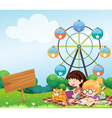 A hill with two girls and an empty board vector image vector image
