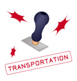 A Rubber Stamp With A Word Transportation vector image vector image