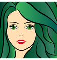 Abstract female with green hair vector image vector image