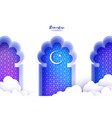 arabic window arch in paper cut style origami vector image vector image