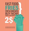 banner with fries on orange background vector image vector image