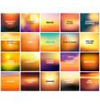 big set of 20 square blurred nature golden orange vector image