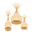 Brown Bamboo Wicker Baskets on White Background vector image