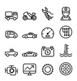 car maintenance and repair icon set in thin line vector image