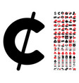 cent icon with 90 bonus pictograms vector image vector image