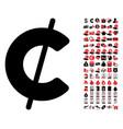 cent icon with 90 bonus pictograms vector image