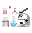 chemical lab items science laboratory collection vector image vector image