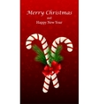Christmas candy cane decorated with a bow and tree vector image vector image